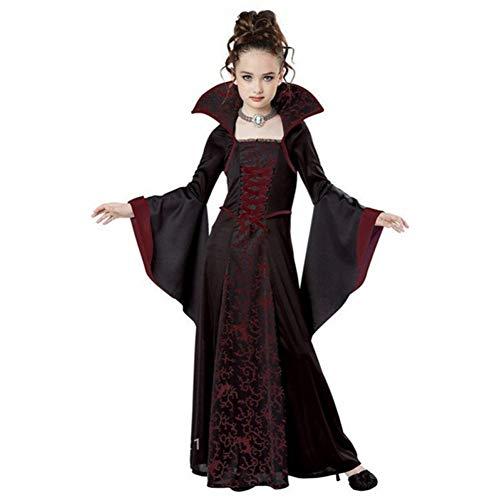 GBYAY Niños Vampire Cosplay Vestido de Halloween para niña Bruja Disfraz de Miedo Rendimiento Fiesta de Carnaval