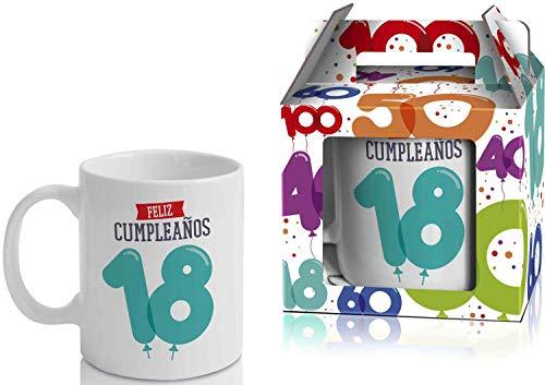 Taza Cerámica para Desayuno en Color Blanco de 300 ml, Un Regalo Original para Aniversarios - Feliz 18 Cumpleaños