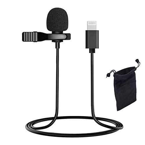 Microphone for iPhone, Professional Lavalier Lapel Microphone Omnidirectional Condenser Mic for iPhone, YouTube, Vlogging, Facebook, Interview, Livestream, Video Recording
