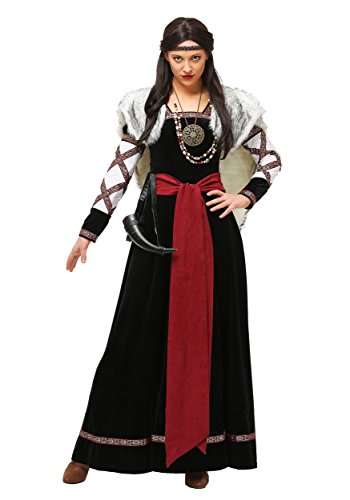 Adult Dark Viking Dress Costume Women's Plus Size Medieval Viking Raider Costume 1X