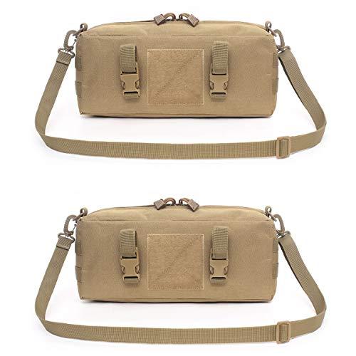 TRIWONDER Taktische Umhängetasche, Molle Brusttasche Crossbody Bag, Schultertasche für Trekking Camping Wandern Reisen (Khaki - 2 Stück)