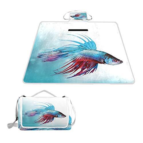 XINGAKA Couverture de Pique-Nique,Siamois Fighting Betta Fish Swimming Aquarium Aggressive Sea,Tapis Idéale pour Plage Jardin Parc Camping
