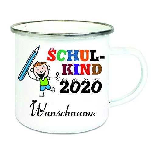 Crealuxe Emailletasse m. Wunschname Schulkind 2020 (Wunschname) - Kaffeetasse mit Motiv, Bedruckte Tasse mit Sprüchen oder Bildern