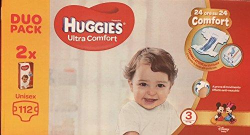 Huggies Huggies - Pañales ultra cómodos, talla 3 (4-9 kg), paquete de 112 pañales – 3080 g