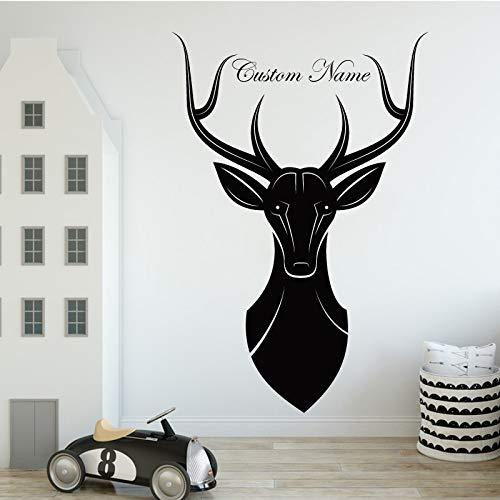 Elk Customized Name Produkte Tier Wandaufkleber Tierliebhaber Home Decoration für Wohnzimmer Kinderzimmer Aufkleber Rot XL 58cm X 86cm