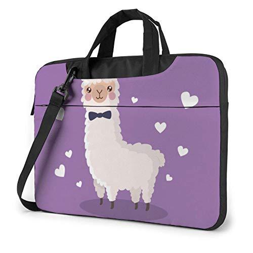 Love Alpaca Morado Impreso Bolso de Hombro para computadora portátil, Maletín para computadora portátil Bolso de Mensajero de Negocios Maletín