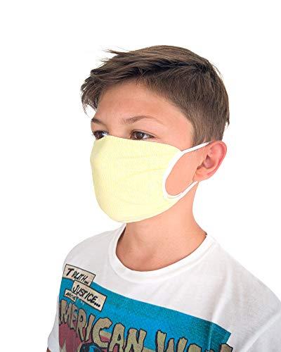 Relaxsan - Set 3 [Amarillo/Blanco] Bandas Rostro Boca Nariz NIÑOS 6-12 AÑOS Lavables Reutilizables absorbentes Tejido bacteriostático