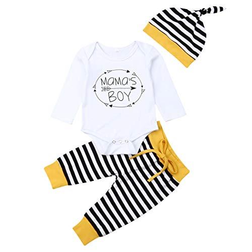 Geagodelia 3tlg Babykleidung Set Baby Jungen Langarm Body + Hose + Mütze Kleinkinder Neugeborene Weiche Warme Baumwolle Babyset Bekleidung (0-3 Monate, Mama's Boy (Weiß + Schwarz Streifen))
