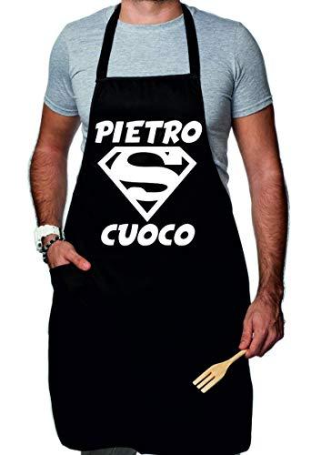 t-shirteria Grembiule da Cucina Divertente Personalizzabile con Nome Super Cuoco - Idea Regalo Divertente