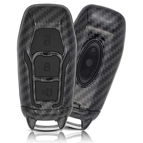 ASARAH Premium ABS Autoschlüssel Hülle kompatibel mit Ford - Edles Carbon Design mit Silikonschutz für Tasten - Carbon FD 3BKL-b