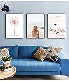 FGDH&SDF Impresiones sobre Lienzo 3 Piezas Pintura En Aerosol Núcleo Simple Rosa Hermoso Paisaje Marino Pintura Pintura Decorativa Sala De Estar Hogar Pintura Colgante. con Marco, 60X80Cm * 3