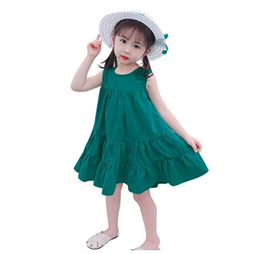 Kleinkind Baby Kinder Mädchen Solide Geraffte Prinzessin Kleid Stroh Hut Deckel Outfits