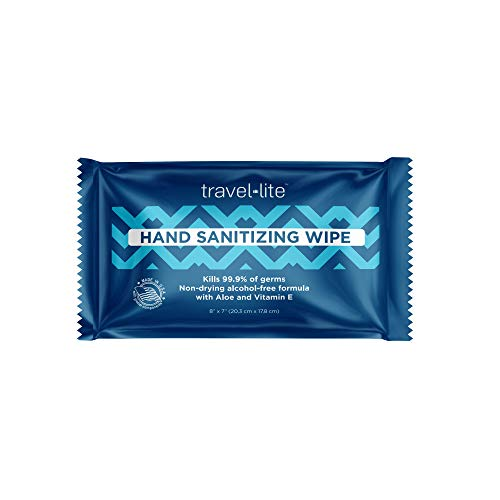 """Travel Lite Hand Sanitizing Wipes 50ct Individually Wrapped Extra Thick and Large 8x7"""" Towelettes Kills 99.9% of Germs with Antimicrobial Protection Perfect for Travel and On The Go"""