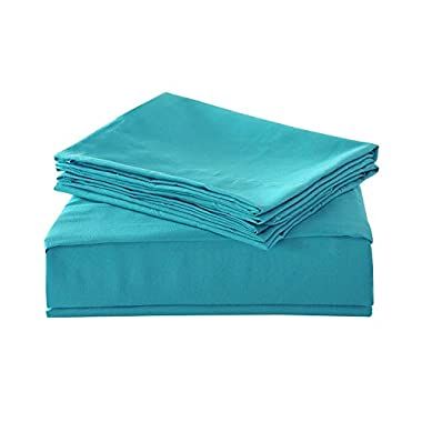 HollyHOME 1500 Soft Hypoallergenic Brushed Microfiber Bed Sheet Set, 4 Pieces King Size Sheets, Teal