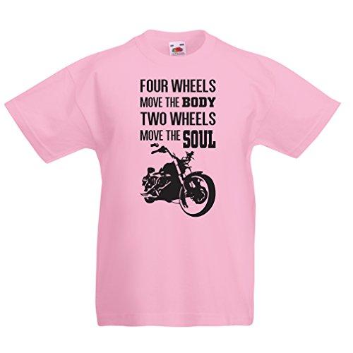 lepni.me T-shirt voor jongens/meisjes, twee wielen bewegen de spreuken van de Soul-motorfietsliefhebbers, motorkleding