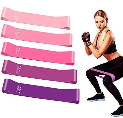 Theraband 5er Set Widerstandsbänder Fitnessbänder Gymnastikband Resistance Loop Bands Terra Band, 5 Stärken Gummiband Naturlatex für Krafttraining Muskelaufbau, Yoga, Crossfit (Rosa)