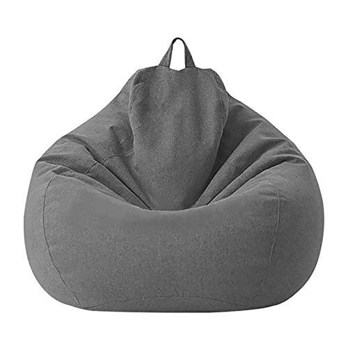 cottonlilac Sitzsack Sofa Abnehmbare und waschbare Sofabezug mit Innenfutter ohne Füllungen Einzelstuhlmöbel für Kinder und Erwachsene-Dunkelgrau-70 * 80CM