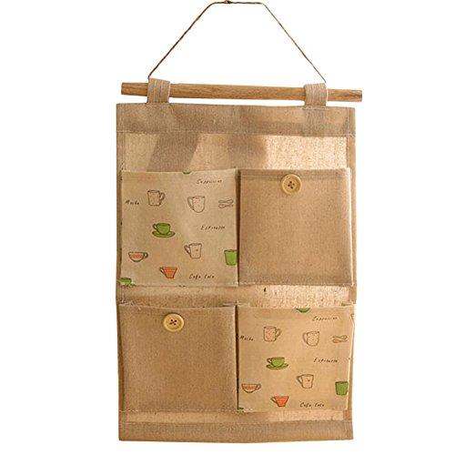 milopon bolsa de almacenamiento colgante (algodón, lino, con 4bolsillos bolsa pared para casa Dortoir puerta