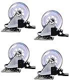 WWJ Juego de 4 Ruedas giratorias de Goma de Repuesto para sillas, Tuercas de fijación de Rosca Incluidas, Carrito para Maletero, Mueble, Rueda con Freno, 3'con Freno, Juego de 4