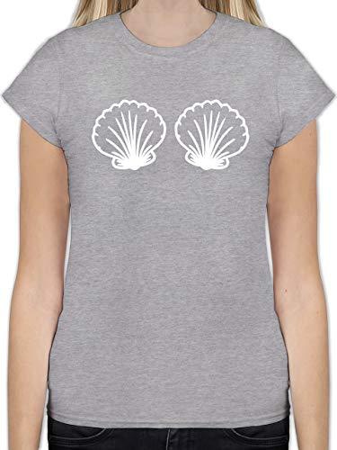Karneval & Fasching - Meerjungfrau Kostüm weiß - S - Grau meliert - Karneval kostüm meerjungfrau - L191 - Tailliertes Tshirt für Damen und Frauen T-Shirt