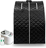 ZONEMEL Portable Steam Sauna,at Home Full Body One Person Spa Tent, 2L Steamer with Remote Control, eco-Friendly Indoor Weight Loss Detox Therapy, Herbal Box Included(US Plug, Black)