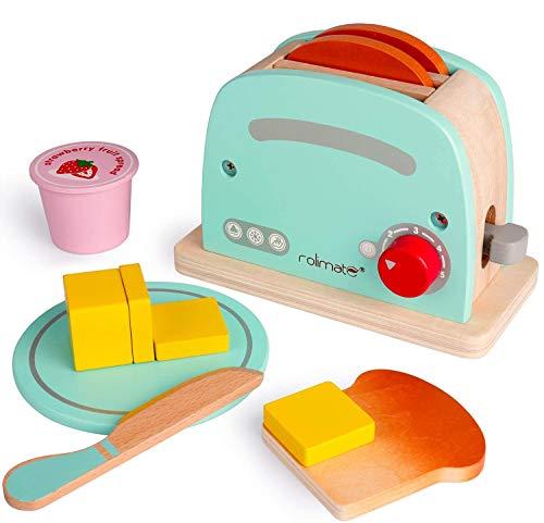 Juguete Tostador De Madera,Juguete Educativo temprano Juegos de Cocina Fomenta el Juego imaginativo Juego de Roles de Cocina Diversión 3 4 5+ años Niño y niña (Tostador)