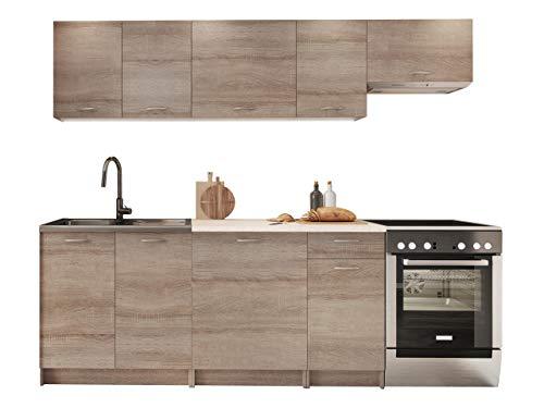 Küche Mela 180/240 cm, Küchenblock/Küchenzeile, Farbauswahl, 7 Schrank-Module frei kombinierbar (Trüffel/Petra Beige)