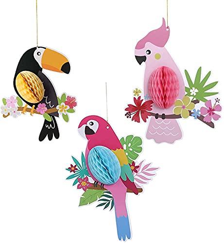 LDLD Juego de 3 pájaros tropicales de panal para colgar decoraciones hawaianas para fiestas