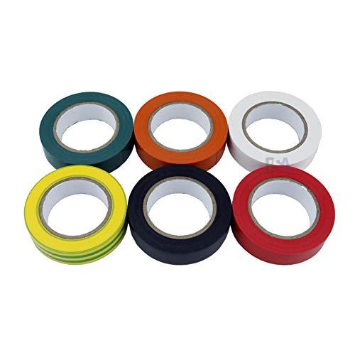 6 Isolierband orange grün gelb rot weiß schwarz 15 mm x 10 mm x 0,15 mm Irox PVC selbstlöschend IEC RoHS Elektriker Klebstoff 15 x 10 mm/m