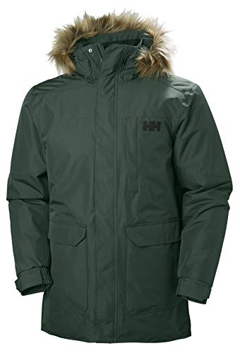 Helly Hansen Men's Dubliner Parka 100 Gram Primaloft Insulated Waterproof Windproof Breathable Rain Coat with Hood, 495 Darkest Spruce, Large