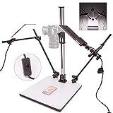 HWAMART ™ (Luz de copia) Soporte de copia profesional con dos luces de montaje E27 A + Placa de liberación rápida para fotografía réflex DSLR Foto Video