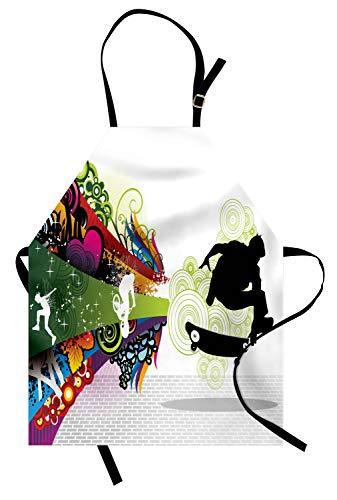 ABAKUHAUS Adolescent Tablier, Scater Boy coloré, Produit Unisexe avec Col Réglable pour Cuisine et Jardinage, Multicolore