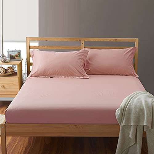 3 Piece Bed Sheet Set, 100% Cotton Mattress Protector Cover with Zipper, Breathable, Dust Mite Proof, 30CM Extra Deep,Pink,180 * 220cm