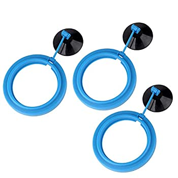 Timiy 3 Pcs Fish Feeding Ring Aquarium Round Floating Food Circle with Suction Cup for Fish Tank,Blue