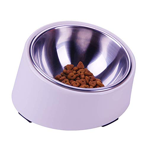 SUPER DESIGN Mess Free 15 Degree Slanted Bowl for Dogs and Cats 0.5 Cup Cream White