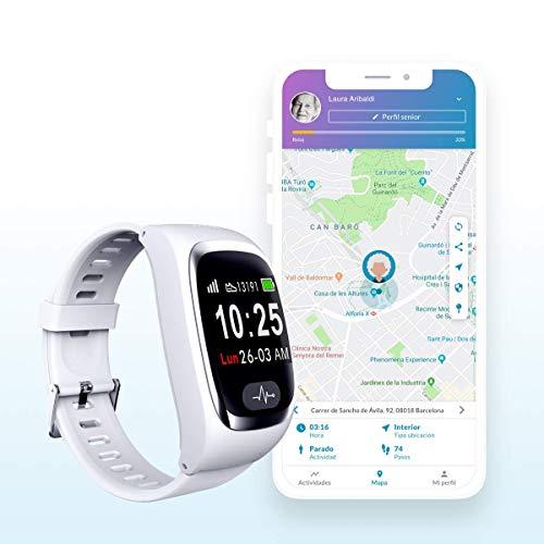 SeniorDomo Protect - Reloj localizador GPS, detección caídas y botón de Ayuda SOS Personas Mayores/Alzheimer (Blanco)