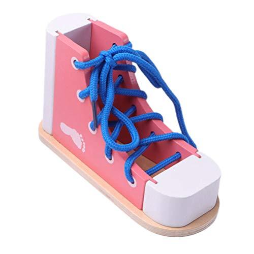Gadpiparty Niños Zapatillas de Deporte con Cordones Zapato de Cordones de Madera Juguete Práctica con Cordones Zapato de Corbata Habilidades Motoras Finas Juguete Roscado de Juguete Rosa