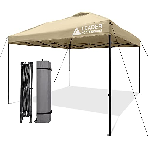 Leader Accessories Pop Up Canopy Tent 10'x10' Canopy Instant Canopy Shelter Straight Leg Including Wheeled Carry Bag, Beige