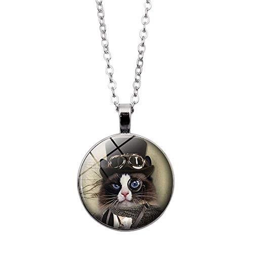 N-K PULABO - Collar de cadena larga con piedras preciosas de imitación para caballero, diseño de gato