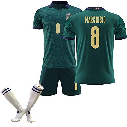 CBVB Fußballuniform für Erwachsene, Marchisio Immobile Bonuccl Pirlo, Trikot der Europameisterschaft 2020 Italien (auswärts), Grün-8#-L
