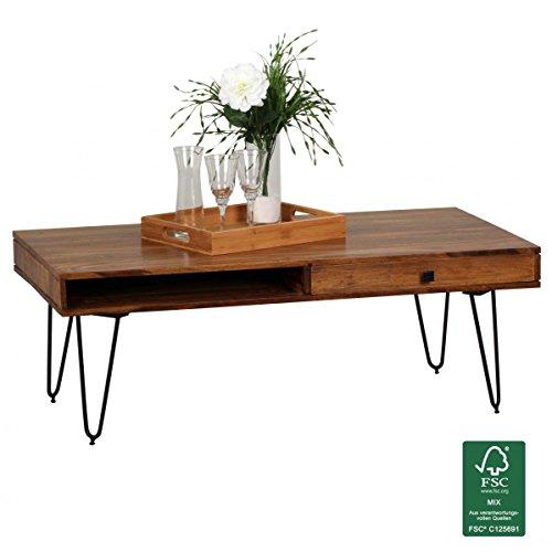 Wohnling Couchtisch BAGLI Massiv-Holz Sheesham 120cm breit Wohnzimmer-Tisch Design Metallbeine Landhaus-Stil Beistelltisch Natur-Produkt Wohnzimmermöbel Unikat modern Massivholzmöbel Echtholz rechteckig
