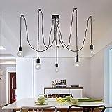 Lámpara de techo industrial, color negro, araña colgante con cable trenzado ajustable , ...