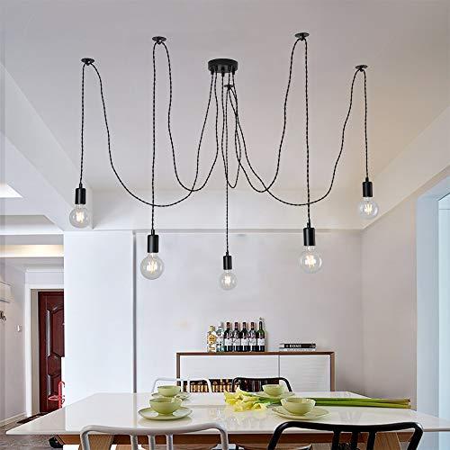5 Lichter schwarze industrielle Pendelleuchte, 5 Lichter Spider Hanging Chandelier 5 Pendelleuchten E27 mit verstellbarem verdrilltem geflochtenem Kabel Max 60W 220V, ohne Glühbirne