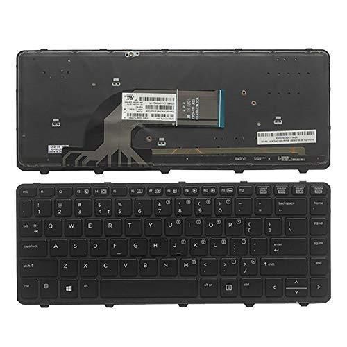 Teclado de computadora portátil compatible con teclado de computadora portátil con retroiluminación negra en inglés de EE. UU. (Con marco) Reemplazo para HP ProBook 430 G2 440 G2 445 G2 440 G0 440 G1