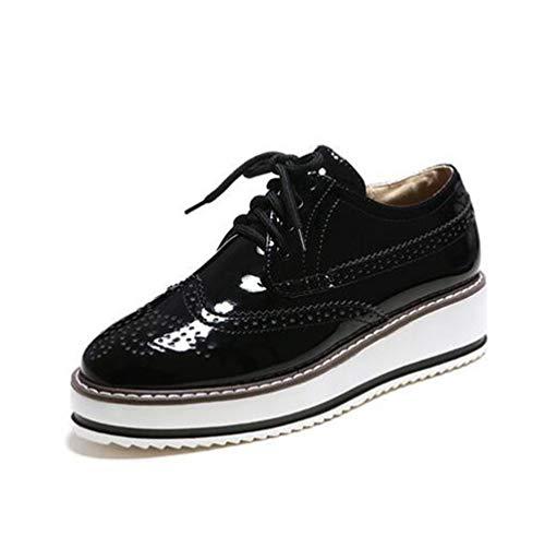 Zapatos de cuña para Mujer Zapatos de Brogue tallados de Moda Punta Redonda con Cordones Damas Zapatos Casuales Individuales Mocasines Tamaño Grande 43 Zapatos de Plataforma Planos Femeninos