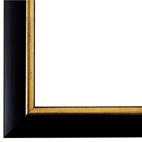 Bilderrahmen Schwarz Gold 28 x 35 cm - Modern, Klassisch - Alle Größen - handgefertigt - Galerie-Qualität - WRF - Perugia 4,0