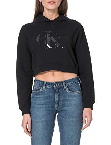 Calvin Klein Jeans Damen Tonal Monogram Hoodie Pullover, Ck Schwarz, 32