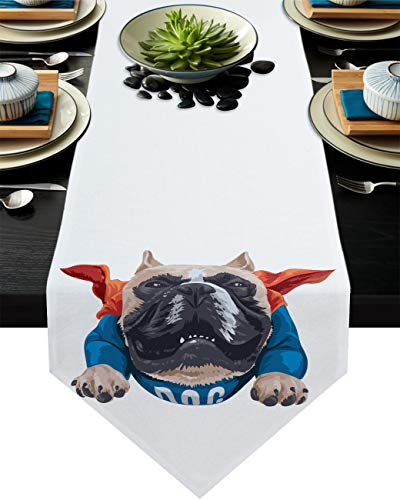 Savannan Kitchen Table Runner Cartoon Bulldog Animal Red Blue Cloth Burlap Table Runner Dresser Scarves for Family Dinner, Outdoor or Indoor Parties, Gathering, 13'x120'