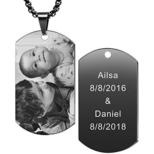 MeMeDIY Personalized Dog Tag Pendant Necklace Engraving Text/Black & White Picture for Men Women Memorial Stainless Steel Jewelry Bundle with Adjustable Chain, Keychain, Silencer (Black Color)