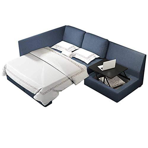 Sofá convertible de lujo con sofá cama, sofá en forma de L con chaise reversible, mesa elevadora, cama extraíble y gran espacio de almacenamiento, moderno sofá de tela de lino para espacios reducidos